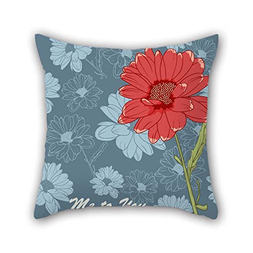 Flower Throw Pillow Case 16 X 16 Inches / 40 By 40 Cm For Kitchen Couch Husband Birthday Son Kids Girls With Each Side Damask Olive Futon Cover