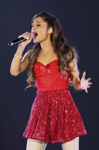 Ariana Grande singing in red off shoulder dress cute 24x36 Poster