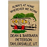 Cheap Happy Camper World Always at Home Wherever We Roam Personalized Big Travel Trailer Campsite Flag, Customize Your Way, Flag Only