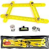 Universal Template Tool Ruler, Full Metal bolts & knobs, Easy Multi Angle Measuring Tools, Ultimate For DIY & Tile, Original Measurement Set (Yellow)