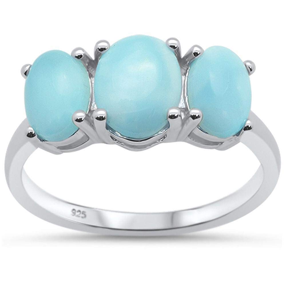 Princess Kylie Oval Natural Larimar Three Stone Ring Sterling Silver