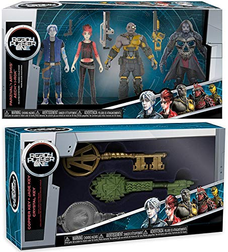Level Up Key Figure Set Jade Crystal Copper Player Ready One 3 Pack + Parzival, Aech, Art3mis, i-R0k Action Figures Collectible Set Kingdom Keys ()