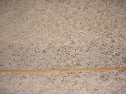 55H13 - Beige / Taupe / Grey Floral / Leaf Scroll Damask Chenille Designer Upholstery Drapery Fabric - By the Yard