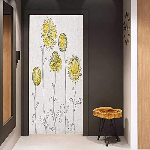 - Onefzc Door Wall Sticker Yellow Flower Hand Drawn Style Sunflowers on Twigs Petals Growth Botany Summertime Mural Wallpaper W36 x H79 Pale Yellow Black