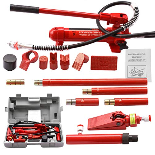 F2C 4 Ton Porta Power Hydraulic Bottle Jack Repair Tool Kit Power Set Ram Pump Auto Body Frame Auto Tool for Automotive, Truck, Farm and Heavy Equipment/Construction