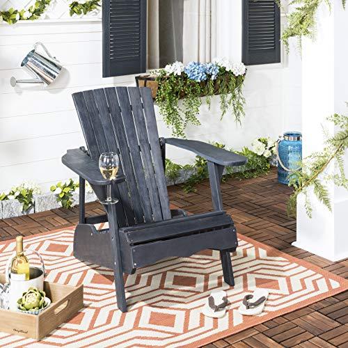 (Safavieh PAT6727K Outdoor Collection Vista Dark Slate Grey Wine Glass Holder Adirondack Side Chair, Gray)