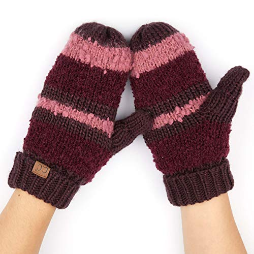 CC Exclusives Women Thick Knit Faux Fur Sherpa Fleece Lined Warm Winter Gloves Mittens ()