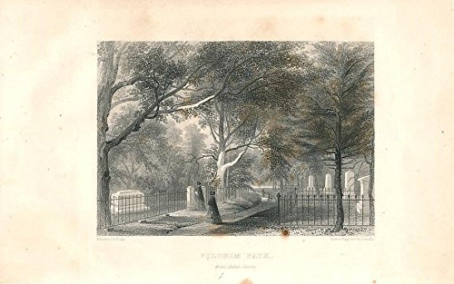 Pilgrim Path at Mt Auburn Cemetery MA 1850 nice old antique - Auburn Map Ma
