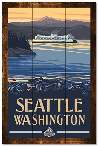 Seattle Washington Ferry Rustic Wood Art Print by Paul A. Lanquist (24