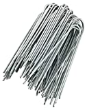 GardenMate 100-Pack Anti-Rust 6'' 11 Gauge Heavy-Duty U-Shaped Garden Securing Stakes/Spikes/Pins/Pegs - Galvanized Sod Staples for Anchoring Landscape Fabric, Many More Applications
