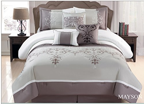 Taupe Off White Grey Floral 7 Pcs Embroidery Comforter Bedding Set King