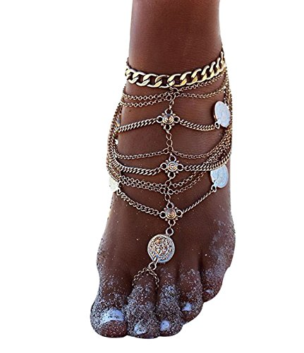 Kiss Queen Barefoot Sandals Bridemaids Wedding Foot Jewelry Toe Ring Anklets (gold)