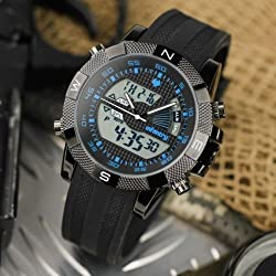 INFANTRY Mens Digital Quartz Wrist Watch Date Chronograph Alarm Sport Leather US