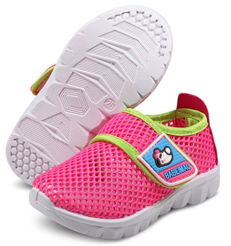 DADAWEN Baby's Boy's Girl's Water Shoes Lightweight Breathable Mesh Running Sneakers Sandals Hot Pink US Size 7 M Toddler ()