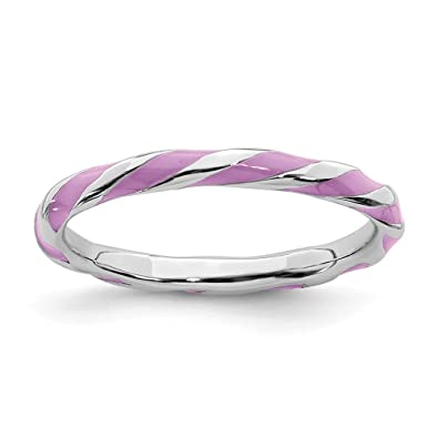 63ec37c10 925 Sterling Silver Twisted Purple Enameled Band Ring Size 5.00 Stackable  Ed Fine Jewelry Gifts For