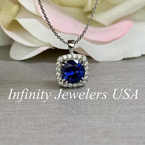 Cushion Cut Necklace/Blue Sapphire Necklace/Diamond Halo Necklace/Moissanite Necklace / 18