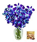 #5: KaBloom Valentine's Day Special: Exotic Blue Sapphire Orchid Bouquet of 10 Fresh Blue Dendrobium Orchids from Thailand with Vase and One Box of Lindt Chocolates