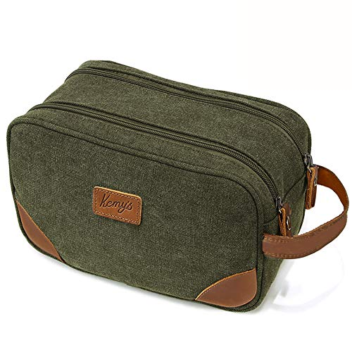 Kemy's Mens Bathroom Travel Bag Shaving Bags for Men Vintage Canvas Leather Toiletry Bag Dob Dopp Kit Women Makeup Bags cosmetics Traveling Green Thanksgiving Day Christmas Gifts