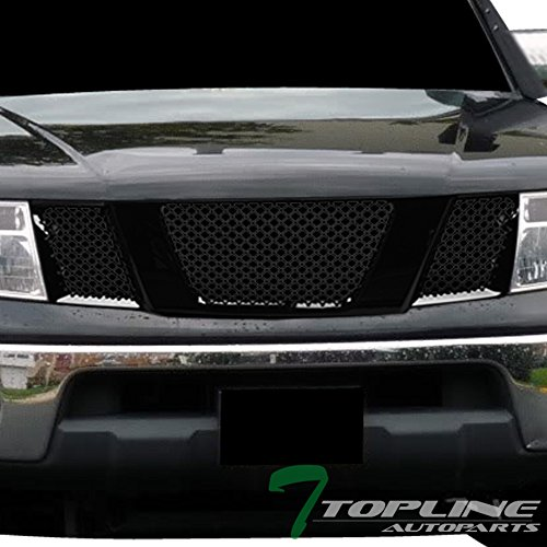 Topline Autopart Glossy Black Mesh Front Hood Bumper Grill Grille ABS For 05-08 Nissan Frontier ; 05-07 Pathfinder