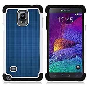 GIFT CHOICE / Defensor Cubierta de protección completa Flexible TPU Silicona + Duro PC Estuche protector Cáscara Funda Caso / Combo Case for Samsung Galaxy Note 4 SM-N910 // Blue fabric texture //