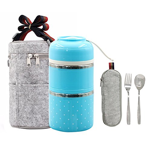 Stainless Steel Interior Bento Lunch Box 2-Tier Insulated Leak-Proof Tiffin Food Container Storage Carrier With Insulated Bag And Cutlery … (Blue)