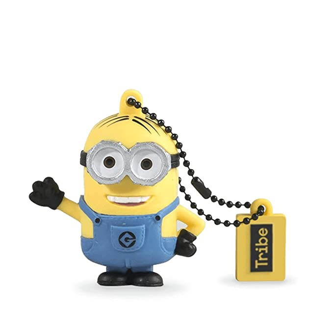 Tribe Los Minions Despicable Me Dave - Memoria USB 2.0 de 16 GB Pendrive Flash Drive de Goma con Llavero, Color Amarillo