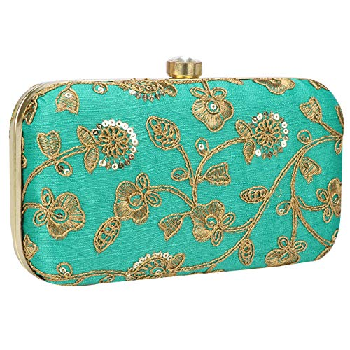 (Hand Crafted Designer Box Clutch with Zari Embroidery Work on Silk Texture Specially Designed (Green-3))
