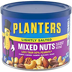 Planters Lightly Salted Mixed Nuts (10.3 oz Canister, Pack of 4) - Variety Mixed Nuts with Less Than 50% Peanuts with Peanuts, Almonds, Cashews, Hazelnuts & Pecans