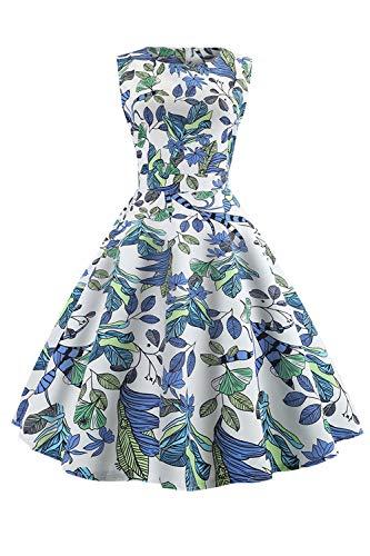 69fa858684abd Yacun Robe D été Vintage Manches Partie Bleu Femme Floral Sans Cocktail  1950 SSqROp8
