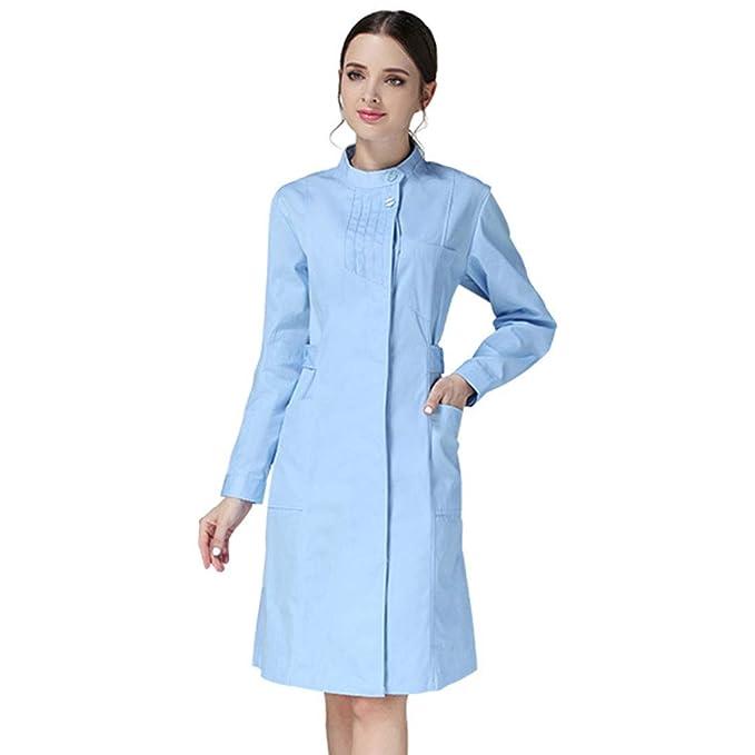 Xianheng Bata Médico Laboratorio Uniforme de Trabajo Enfermera Sanitaria Ajustado de Moda con Manga Larga Blanca para Mujeres para Otoño o Invierno: ...