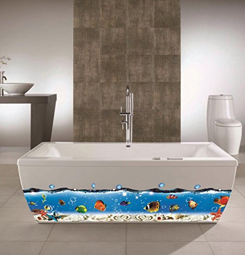 (BIBITIME Bathroom Shower Room Bathtub Border Skirting Line Sticker Underwater World Tropical Fish Bubbles Starfish Vinyl Decal for Baby Bedroom DIY)