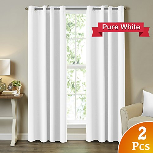 Turquoize 2 Panels Solid Room Darkening Drapes Pure White Themal Insulated Grommet/Eyelet Top Nursery & Infant Care Curtains Each Panel 52