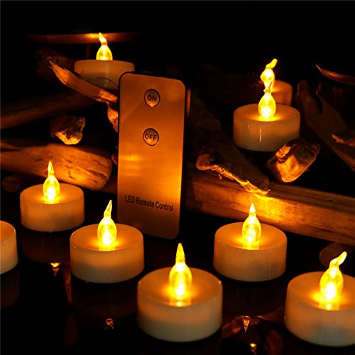 Dellukee Unscented Flameless Candle with Remote 12pcs Battery Operated Yellow Flickering 1.4 Inch LED Tea Lights for Halloween Christmas New Year Family Party Decoration -