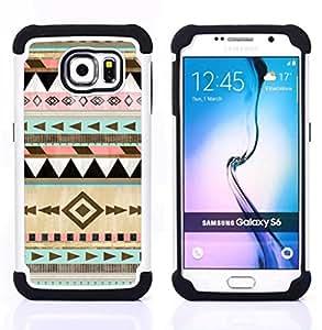 """Samsung Galaxy S6 / SM-G920 - 3 en 1 impreso colorido de Altas Prestaciones PC Funda chaqueta Negro cubierta gel silicona suave (Modelo tribal Dibujo Arte"""")"""