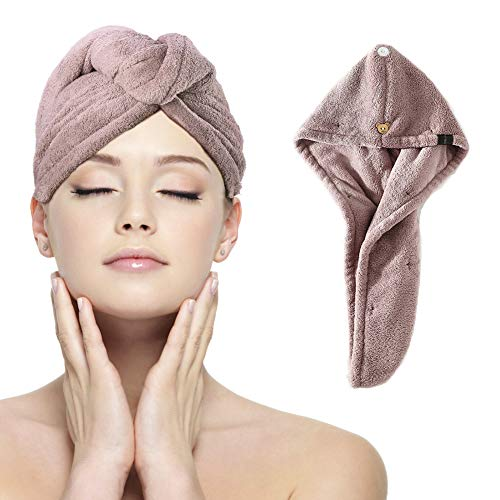 Flend Hair Towel Wrap, Water-Absorbent, Microfiber Fast Drying Hair Cap with Buttons (Purple)