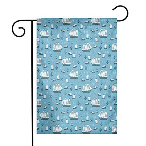 Fickdle Welcome Flag Anchor Use it in Any Weather W12 x L18 Inch Ships Boats and Helms Cartoon Ocean Old School Transportation Design Blue Pale Blue and White