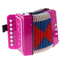 Vaorwne 7 Button Key Accordions Educational Toy Children Musical Instrument - Red Rose