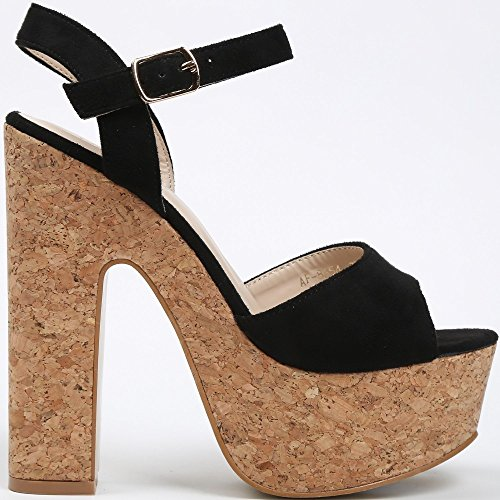 Ideal Shoes Sandale mit Plattform Aus Kork Effekt Wildleder NATEA Schwarz