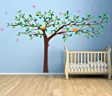 Pop Decors Removable Vinyl Art Wall Decals Mural for Nursery Room, Colorful Super Big Tree