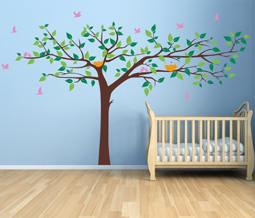 PopDecors - Colorful Super Big Tree Four Colors (Dark Brown, Greens, Yellow and Pink) -133inch W - Tree Wall Decals for Kids Rooms Murals Wall Stickers Nursery Decals - Brown Pink Color