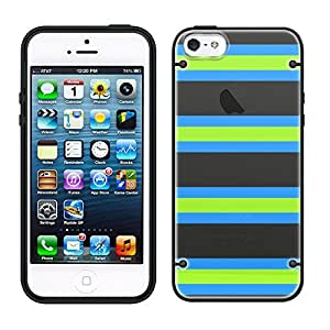 iPhone 5 5s Preppy Stripes Green Black Blue See Through Case with Black Trim