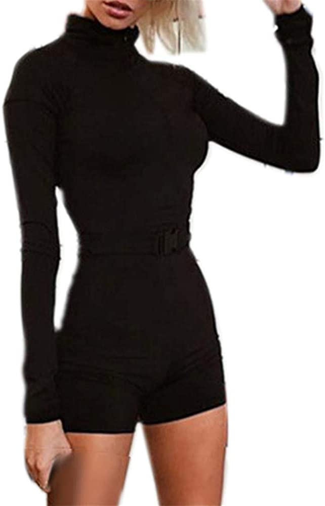 Womens Rompers Casual Long Sleeve Turtleneck Sexy V-Neck Stretchy Bodycon Sports Yoga Jumpsuit Shorts Rompers Playsuits Black