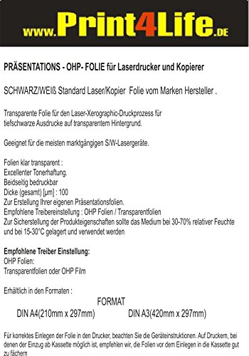 OHP Folie A3, 50 Kopierfolien, Overhead OHP Folie A3 für s/w Laserkopierer, 50 Folien (VE)