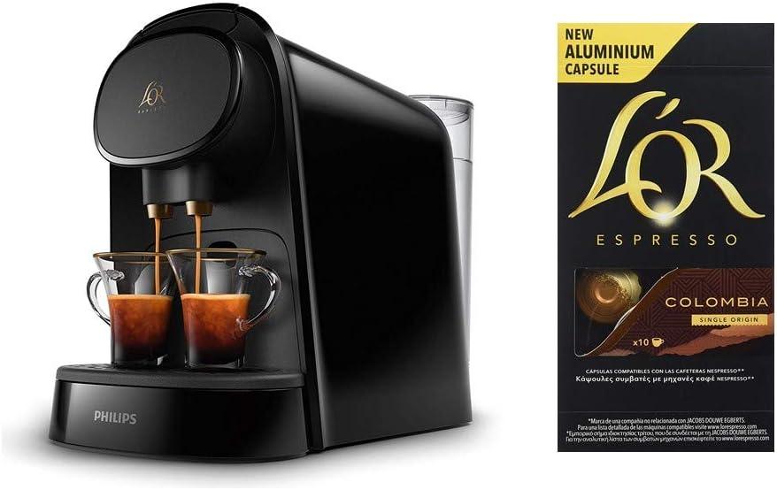 Pack Philips LOR Barista LM8012/60 - Cafetera compatible con cápsula individual/doble, 19 bares presión, depósito 1L, color negro + LOr Espresso Colombia 5 paquetes 10 cápsulas: Amazon.es: Hogar