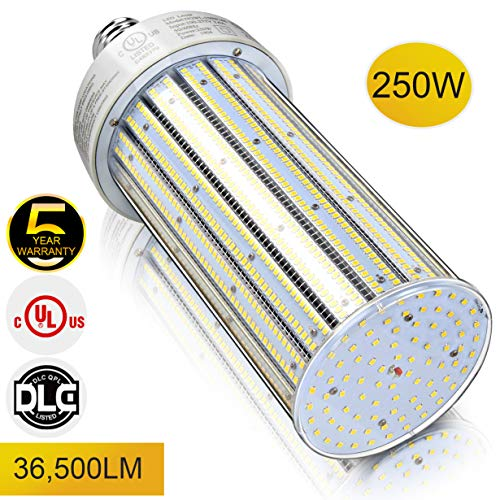 LED Retrofit Corn Light Bulb 250W 36,500Lm 5000K Mogul Base Replacement for 1,000W/1,200W/1,500W Conventional HID/MH/HPS Lamps High Bay Low Bay Fixture Lighting DLC UL Listed (Only for Open Fixture) Bulb Ed37 Mogul Base