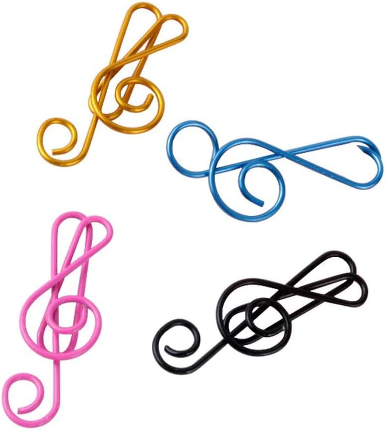 Haidong 20Pcs Metal Creative Musical Notes Style Cute Paper Clips Assorted Metal Paper Clips Musical Notes Clips Music Office Accessories for Desk Bookmark Office School Notebook Colors