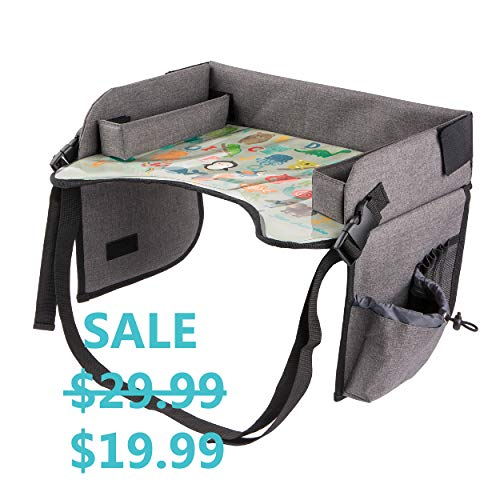 Kids Travel Tray with Erasable Surface for Car Seat, Stroller and Airplane Traveling, Infant and Toddler Snack and Play Tray, Lap Tray, Activity Tray, Table Tray with Mesh Organizer and - Snack Tray Toddler
