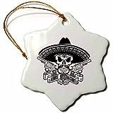 3dRose Carsten Reisinger - Illustrations - Cool Adios Bitchachos Mexican Sombrero Skull Guns Hipster - 3 inch Snowflake Porcelain Ornament (orn_261549_1)