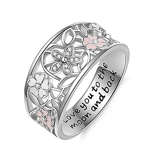 (Agelloc Womens Jewelry Accessories All-Around Band Ring Silver Plated Hollow Openwork Flower Ring Rhinestone Engagement Wedding Band Ring (SL, 7))