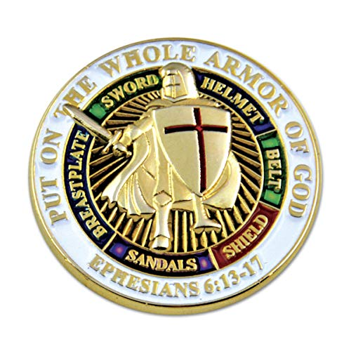 Knights Templar Put on The Whole Armor of God Round White Masonic Lapel Pin - 1
